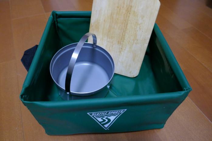 シアトルスポーツパックシンク キャンプの洗い物に便利。四角く折りたためるシンクです